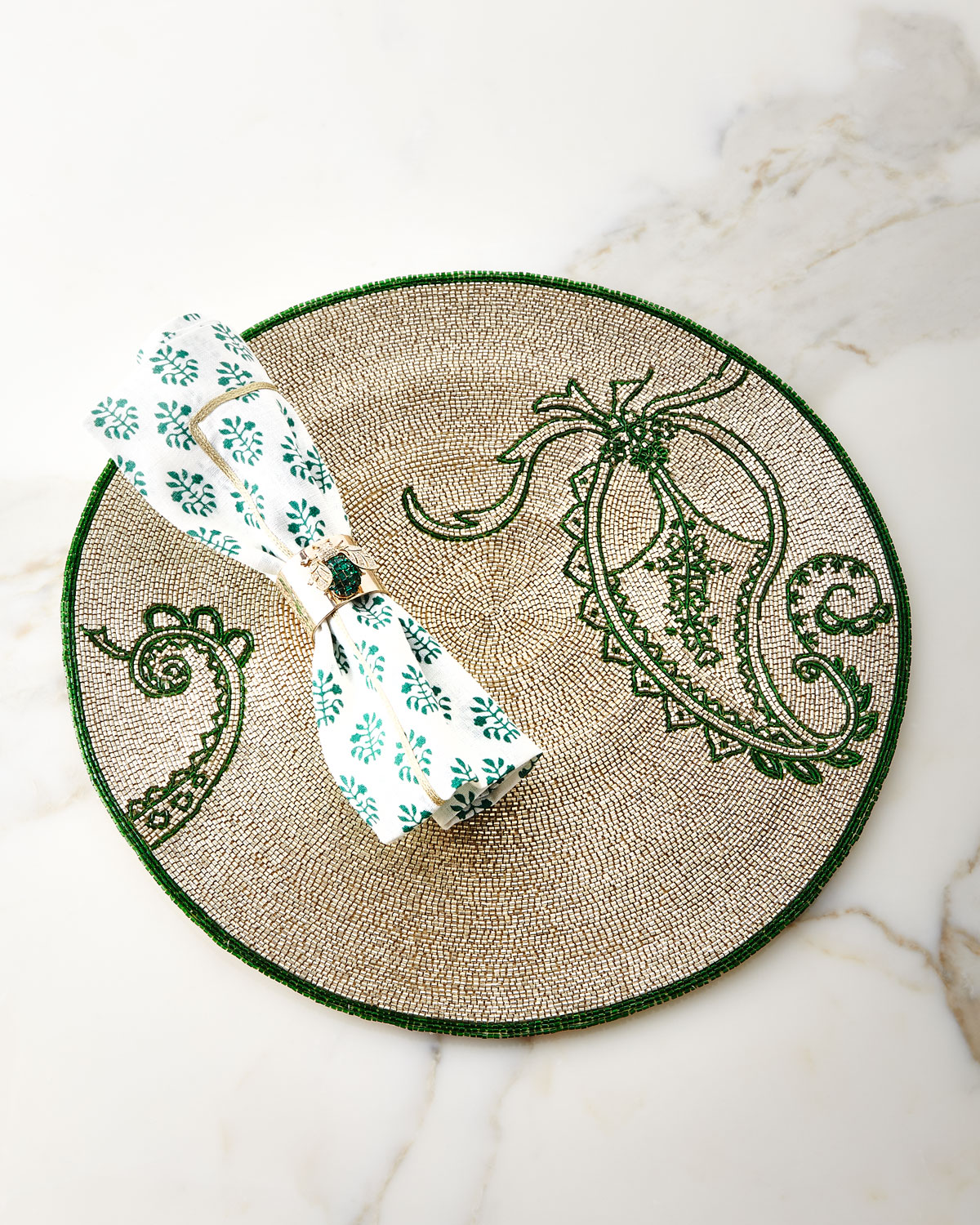 Emerald Sparkle Bee Napkin Rings, Set of 2