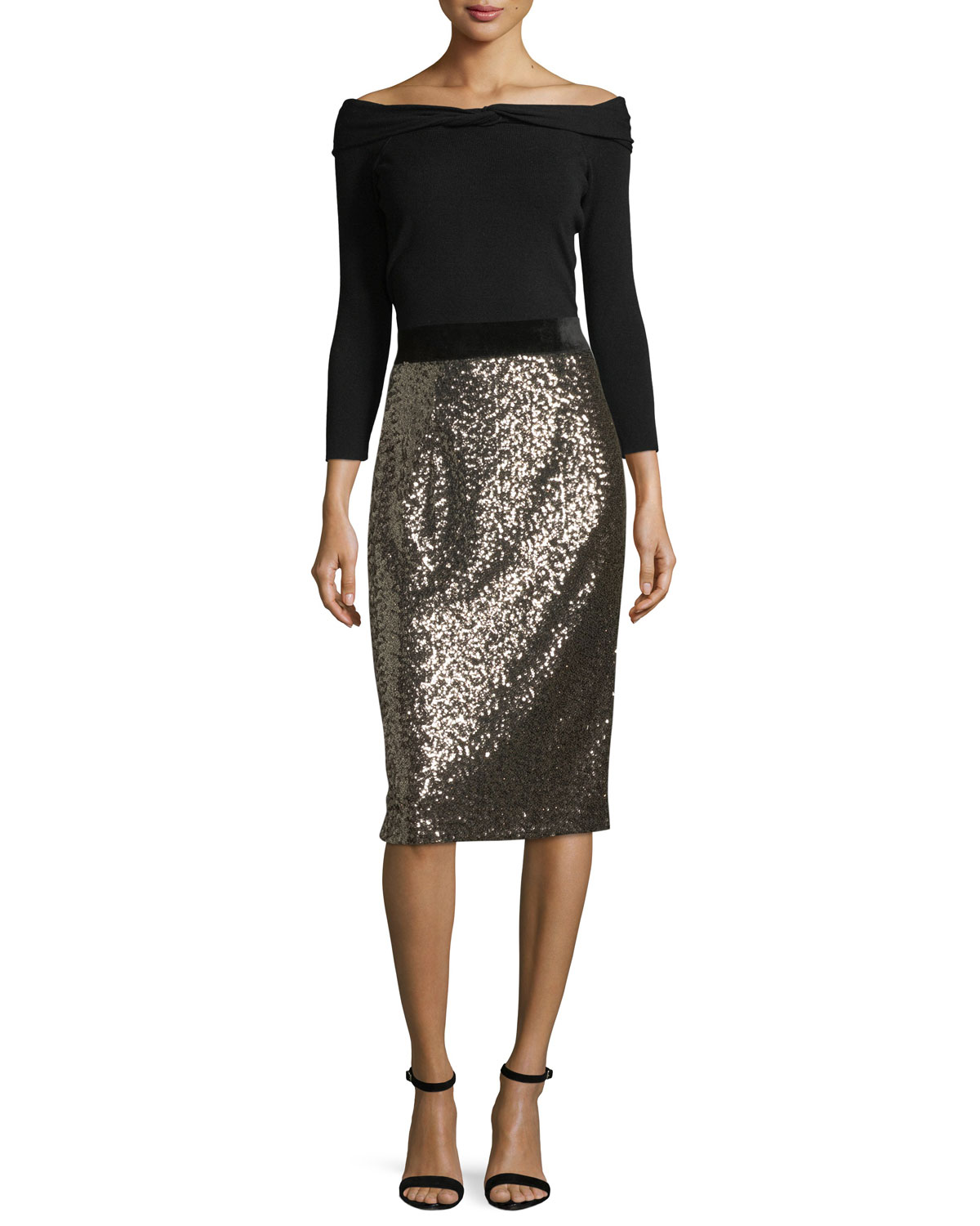 Sequined Midi Pencil Skirt