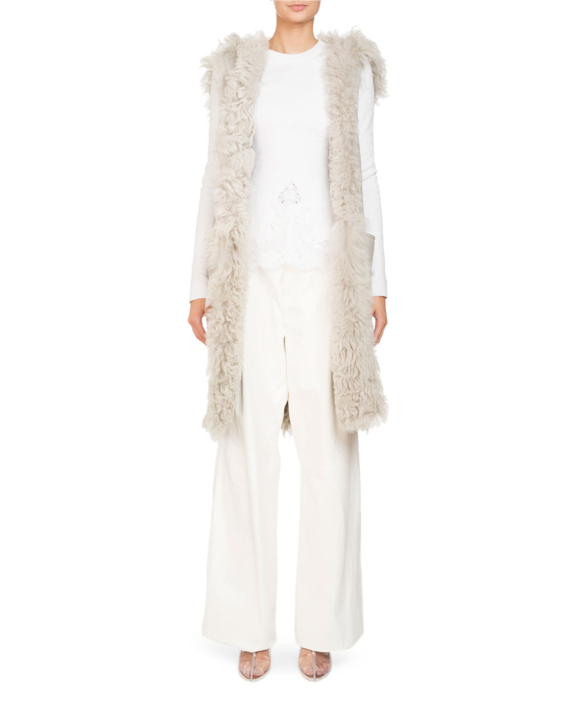 Crewneck Long-Sleeve Knit Lace Blouse