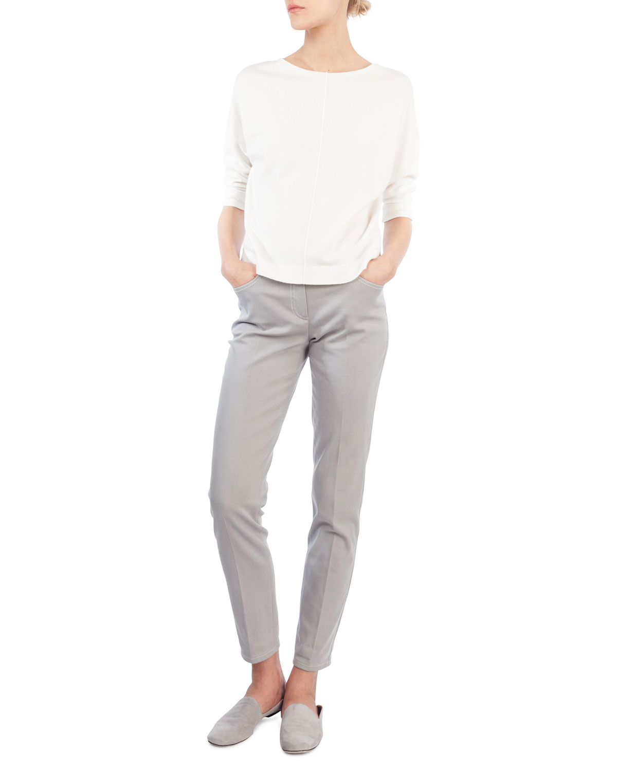 Mid-Rise Skinny-Leg Cotton-Stretch Pants