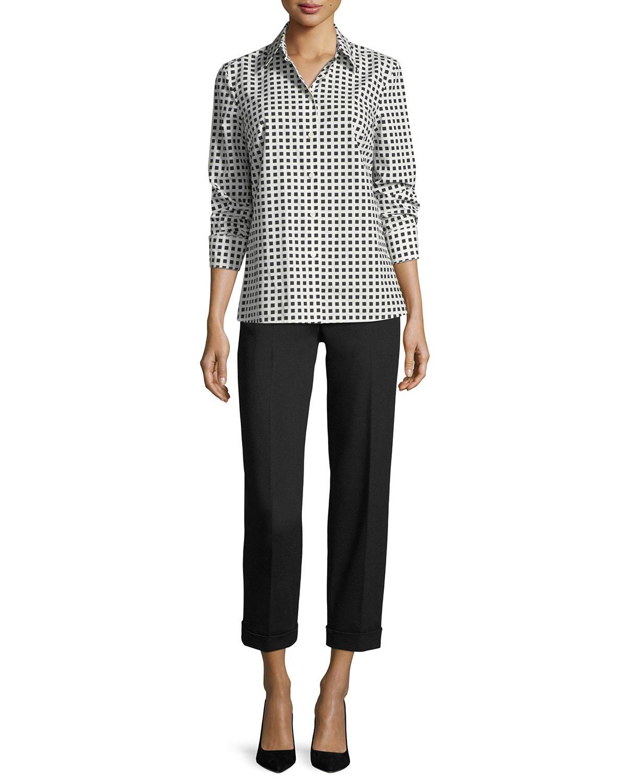 Square-Print Long-Sleeve Poplin Shirt