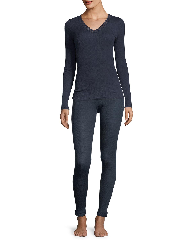 Lace-Trim Long-Sleeve Wool/Silk Top