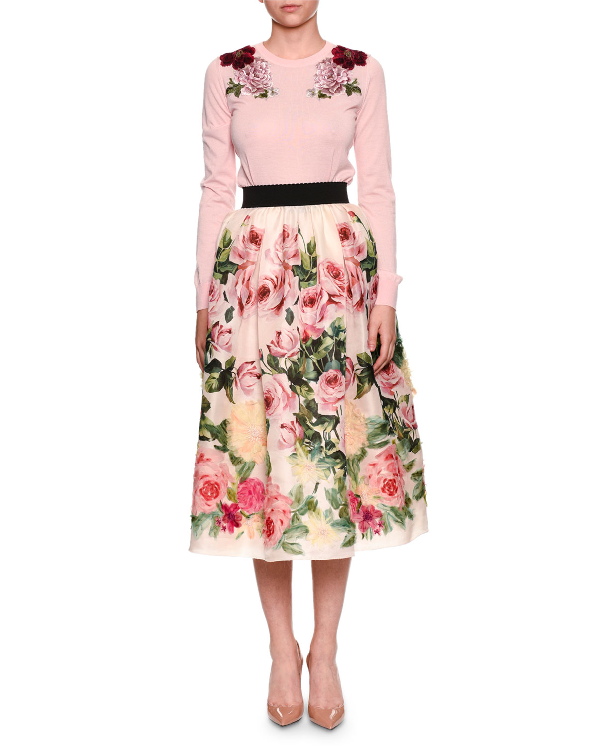 Rose-Print Full Organza Tea-Length Midi Skirt