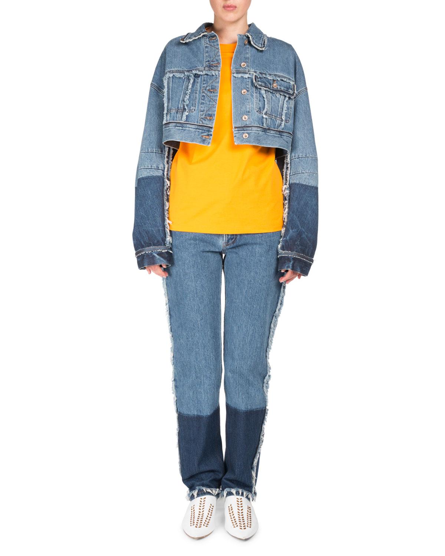Kremi Two-Tone Cropped Distressed Denim Jacket w/ Raw-Edges