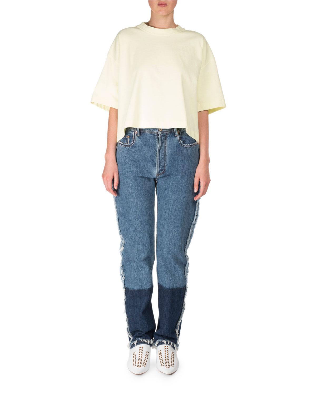 Mirja High-Waist Straight-Leg Two-Tone Denim Jeans w/ Contrast Hem