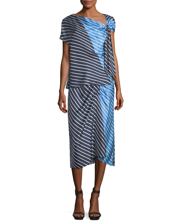 Delphina Striped Colorblock Satin Midi Skirt