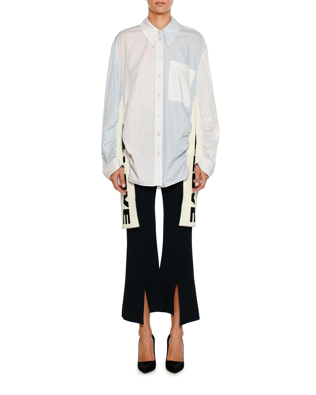 Front-Slit Flared Crepe Flared Pants
