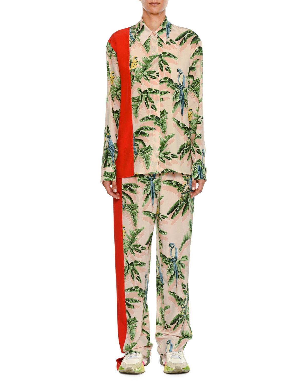 Birds of Paradise Print Wide-Leg Lounge Pants w/ Solid Stripe