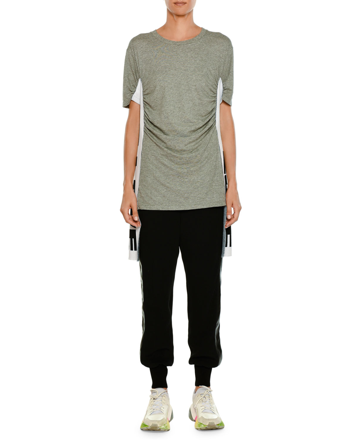 Pull-On Jogger-Style Pants with Leather Side Stripe