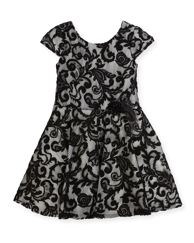Lovely Lace Contrast Overlay Dress, Size 7-16