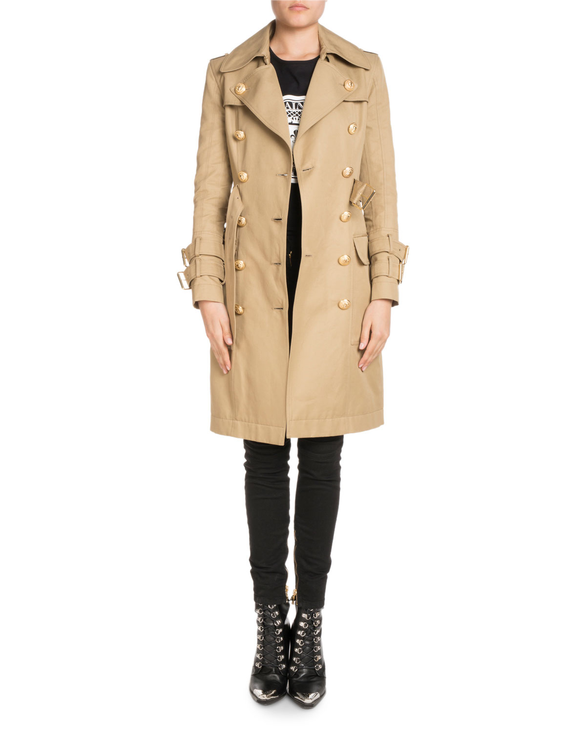 Double-Breasted Knee-Length Gabardine Trench Coat