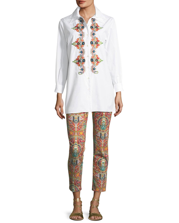 Multicolor Paisley-Print Straight-Leg Jeans