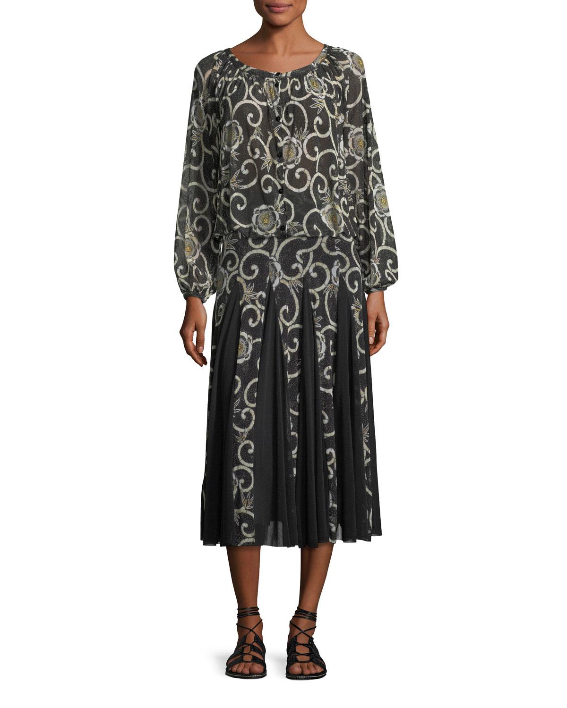 Scroll Floral Pleated Midi Skirt