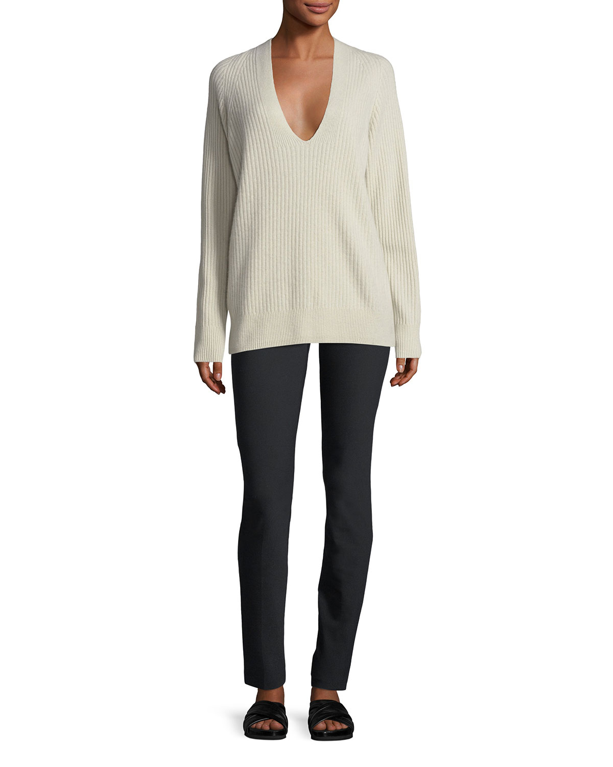 Raglan Ribbed Deep V-Neck Wool-Cashmere Sweater