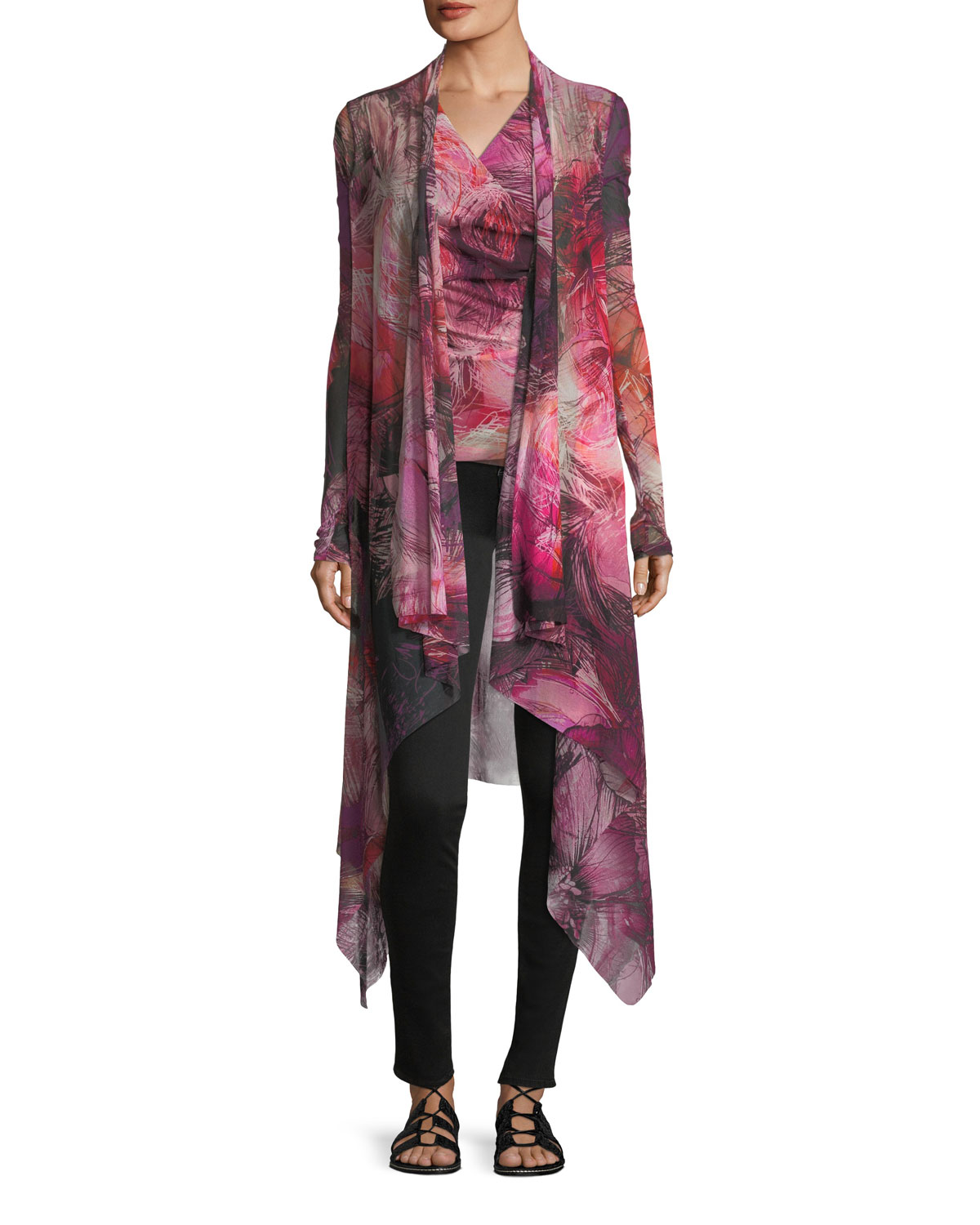 Floral-Print Draped Tulle Cardigan