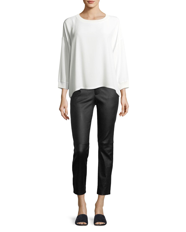 Crewneck Long-Sleeve Silk Blouse
