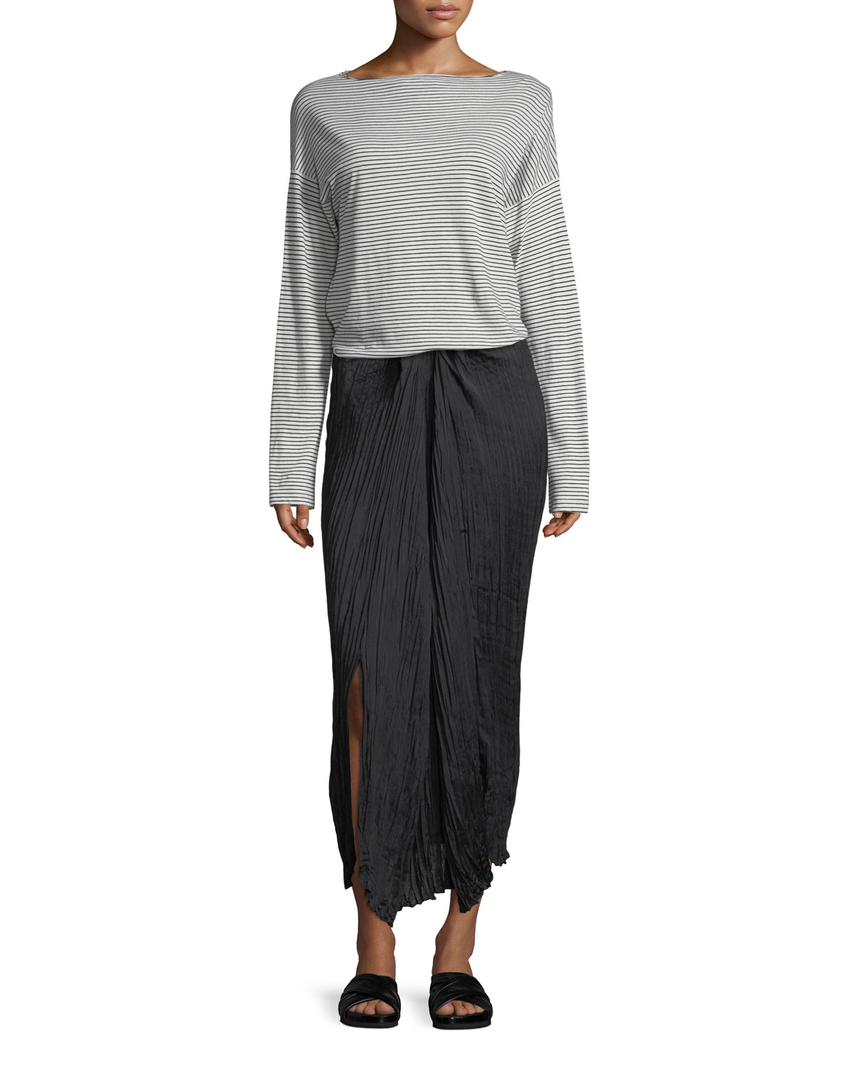 Pleated Tie-Front Maxi Skirt