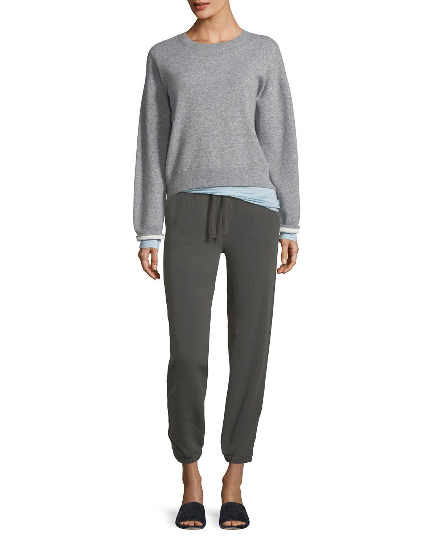 Double-Layer Cashmere Cotton Crewneck Pullover Sweatshirt