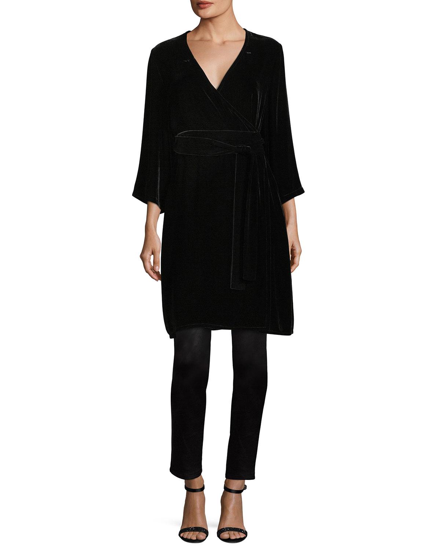 Velvet 3/4-Sleeve Wrap Dress, Petite
