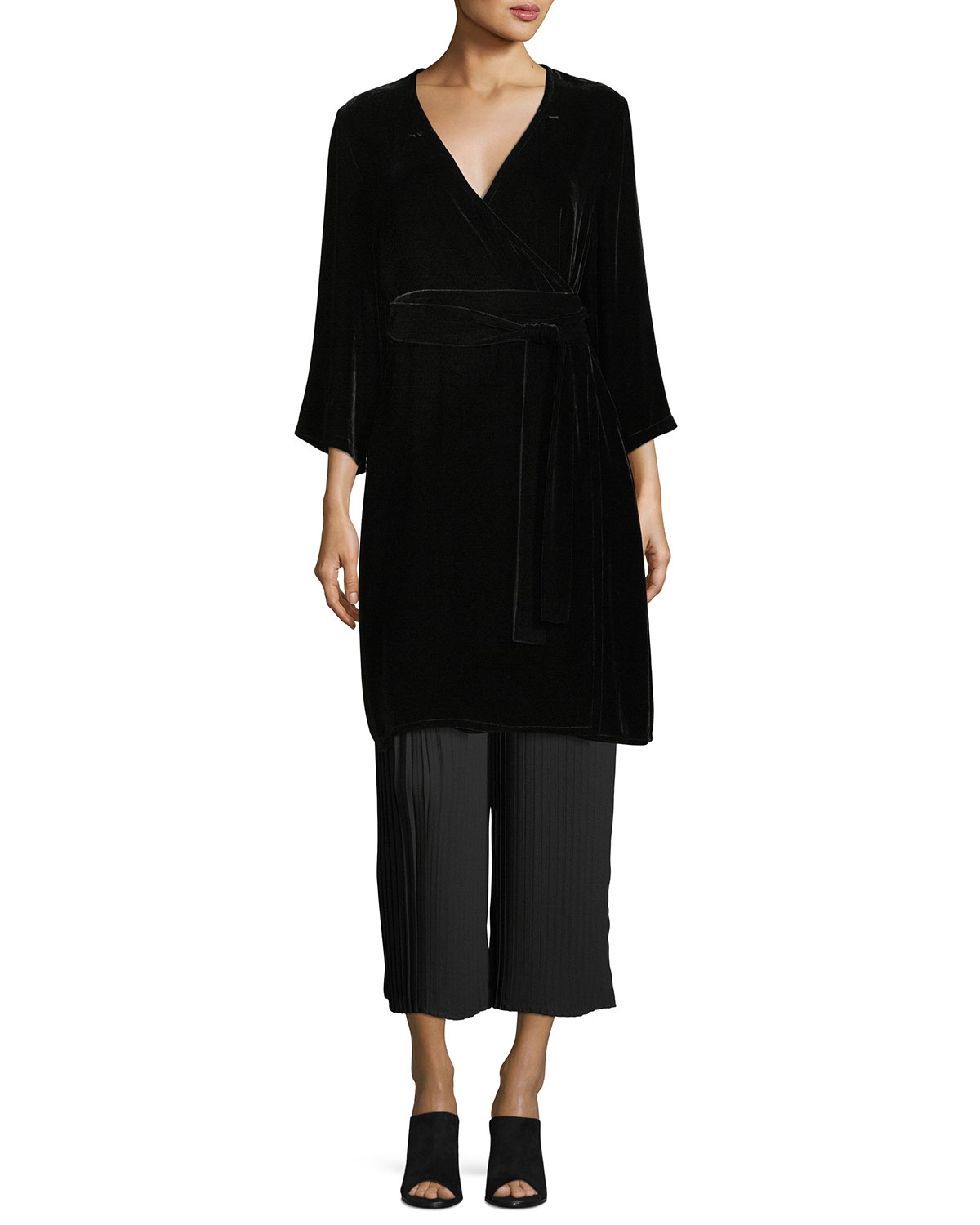Velvet 3/4-Sleeve Wrap Dress, Plus Size