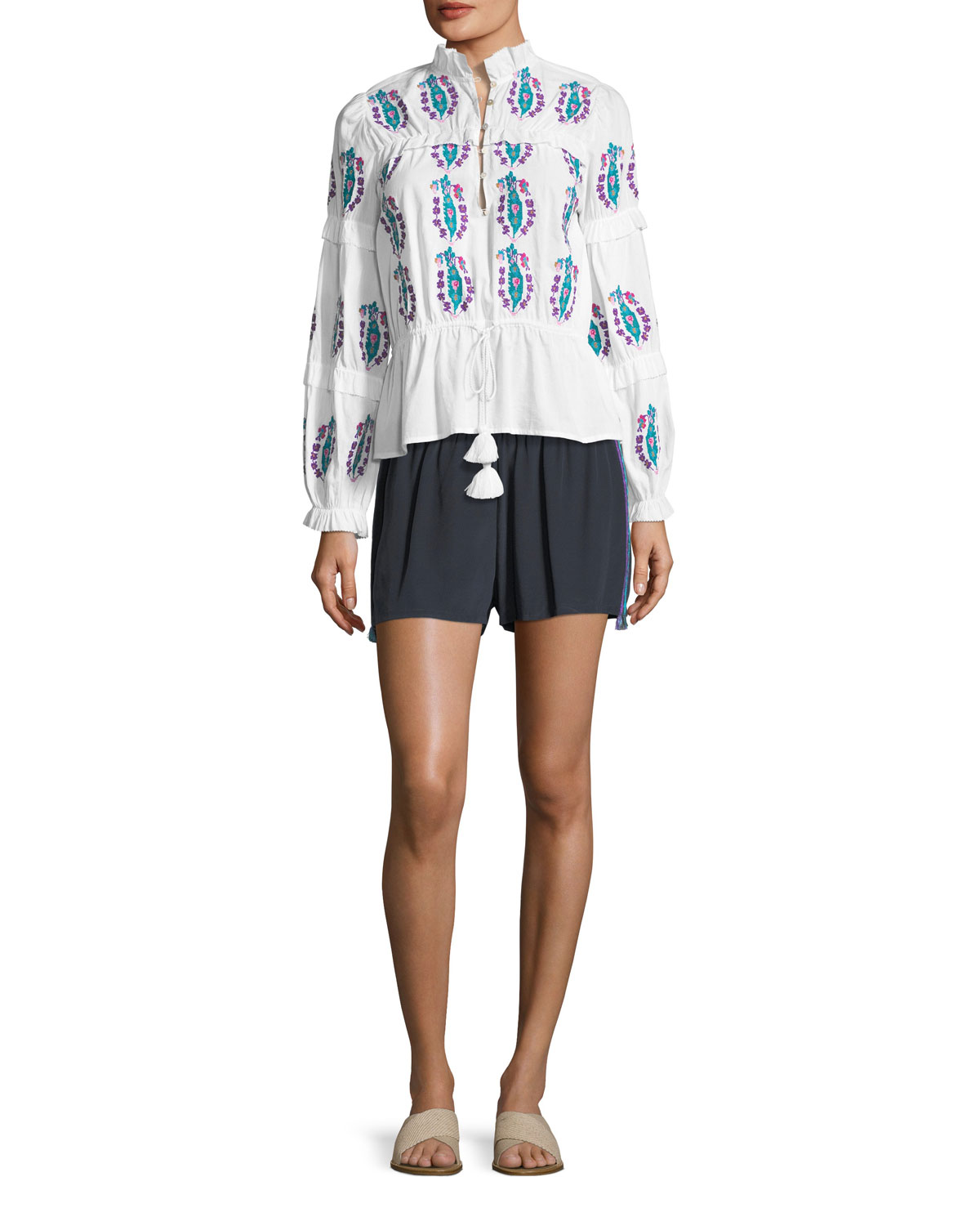 Adeline Long-Sleeve Floral-Embroidered Cotton Voile Top