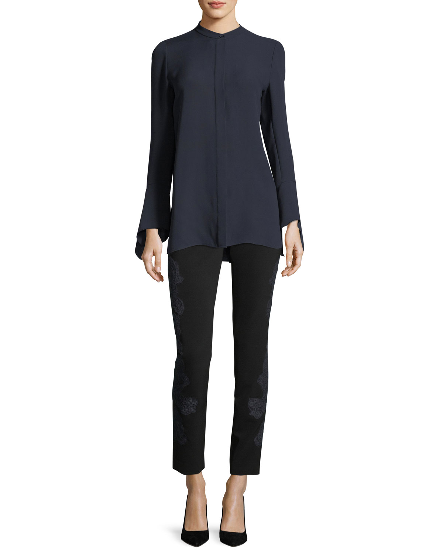 Graydon Bell-Sleeve Silk Blouse