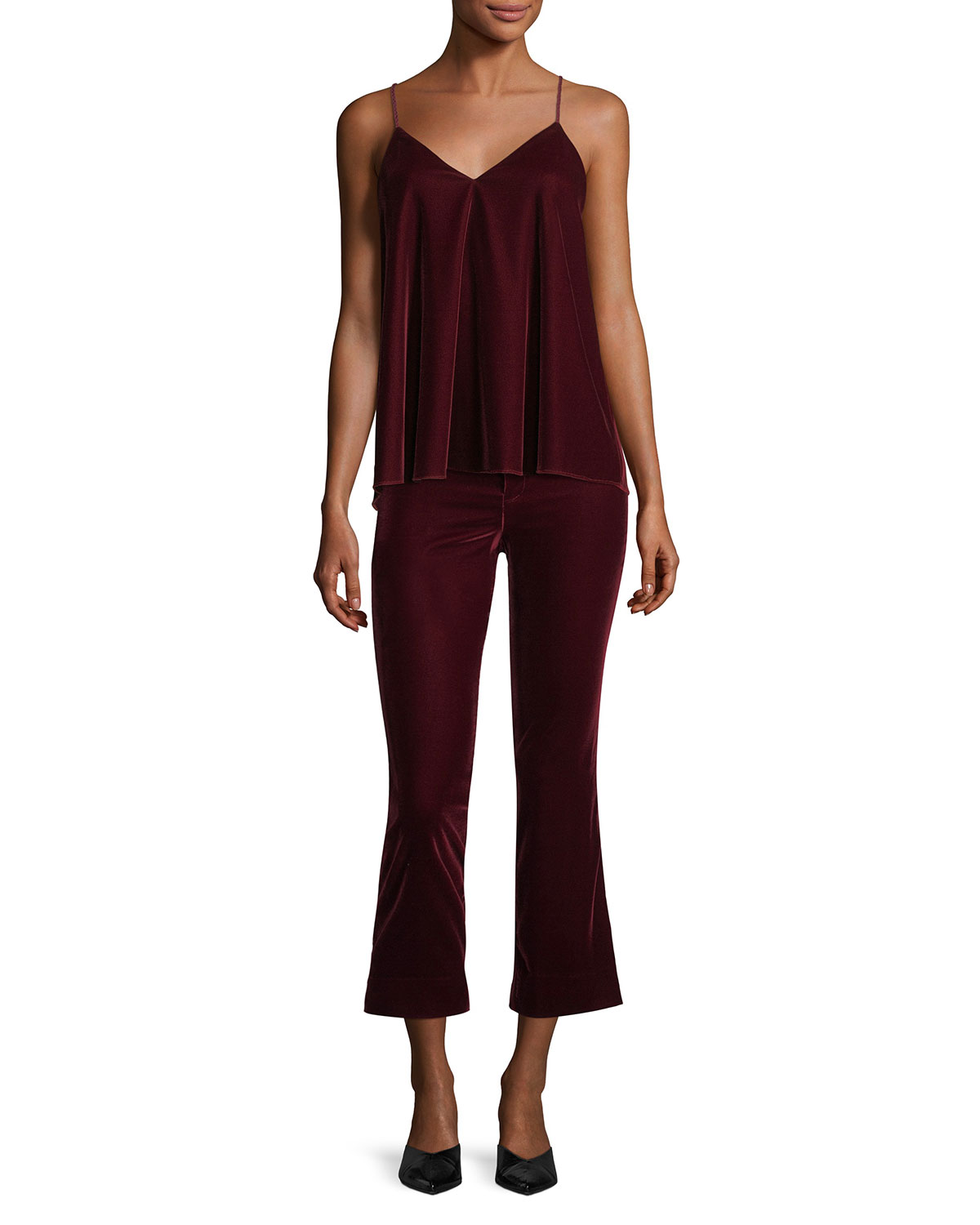 Cropped Flare Velvet Trousers