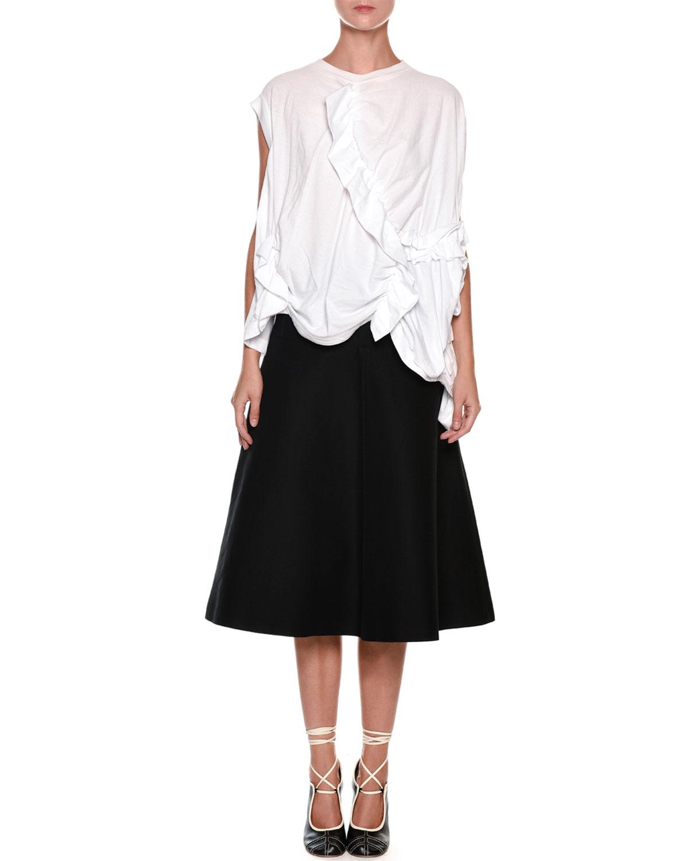 Ruffled Gathered Oversized Cotton Jersey Top