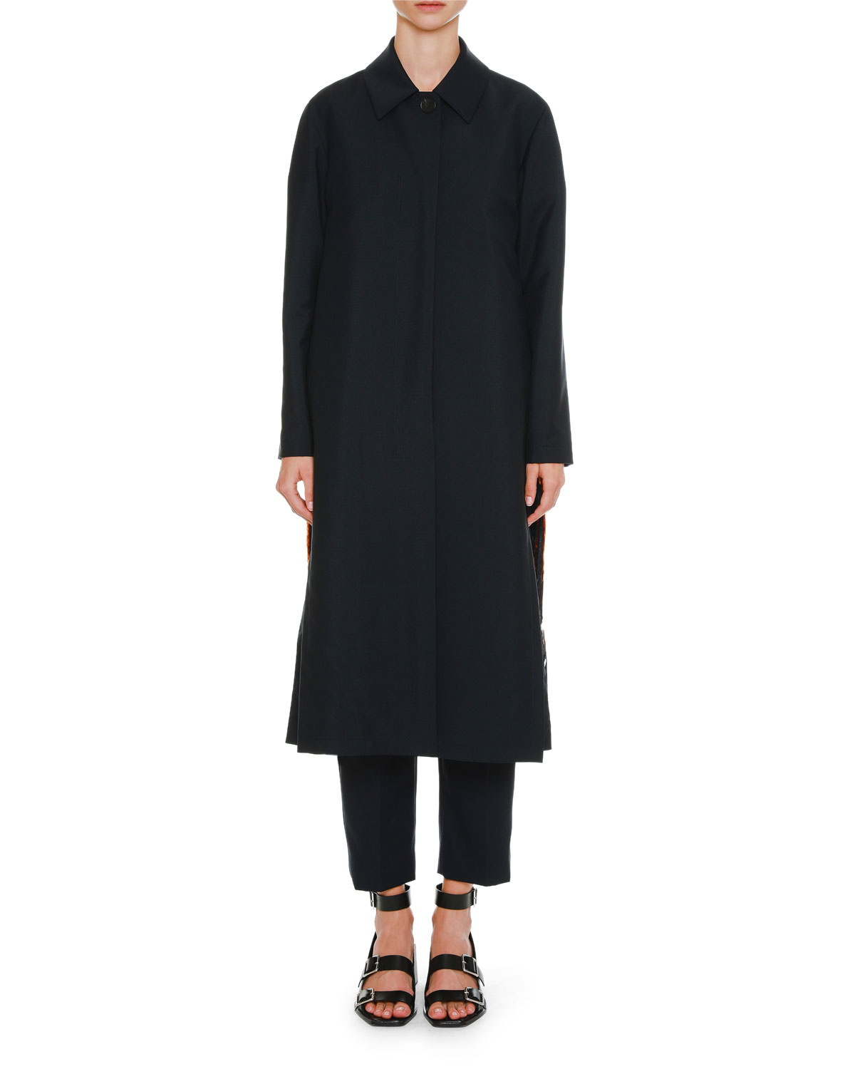 Single-Button Wool-Mohair Coat with Paillette Side Insets