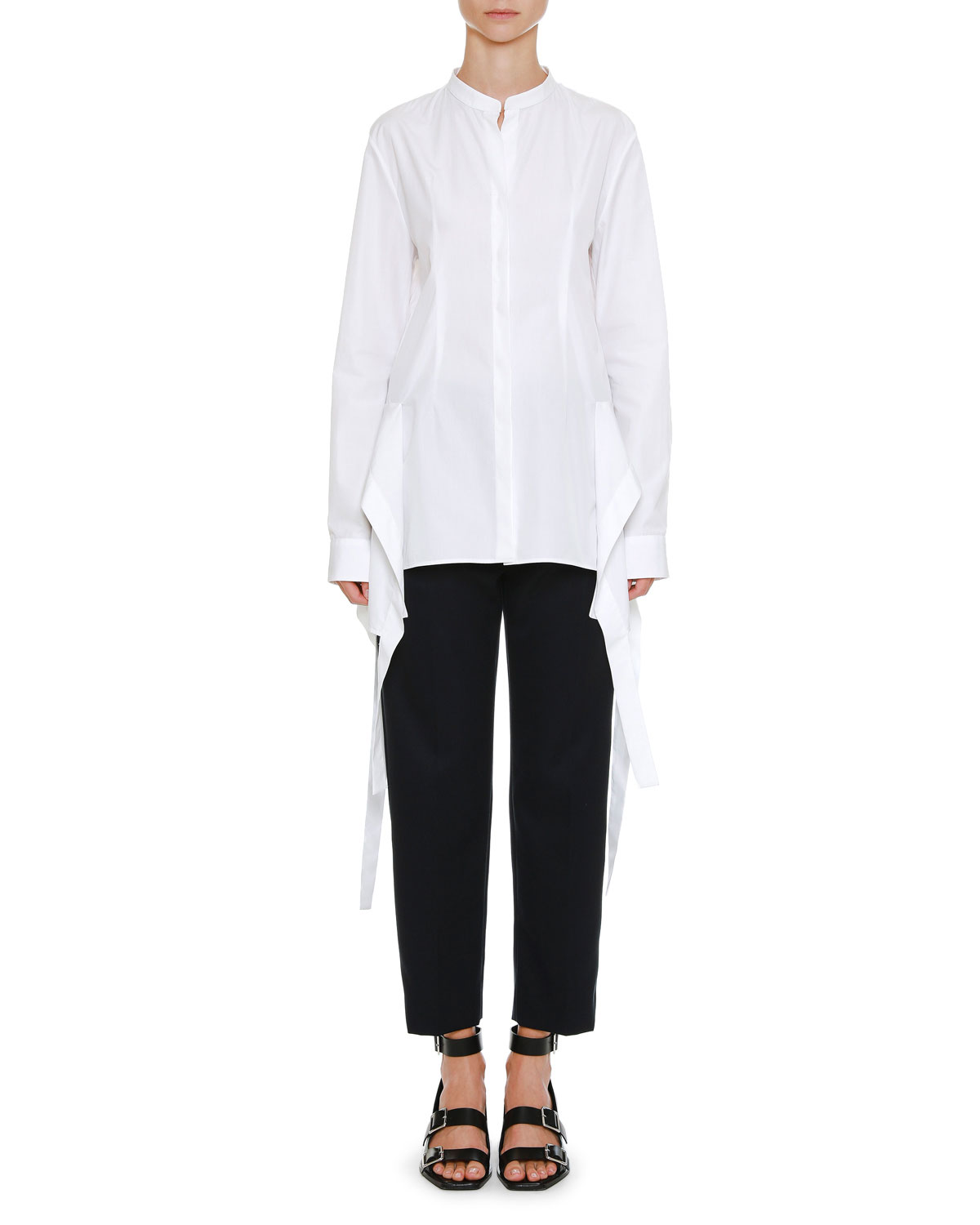 Long-Sleeve Button-Front Oxford Shirt with Wavelike Asymmetric Side Tails
