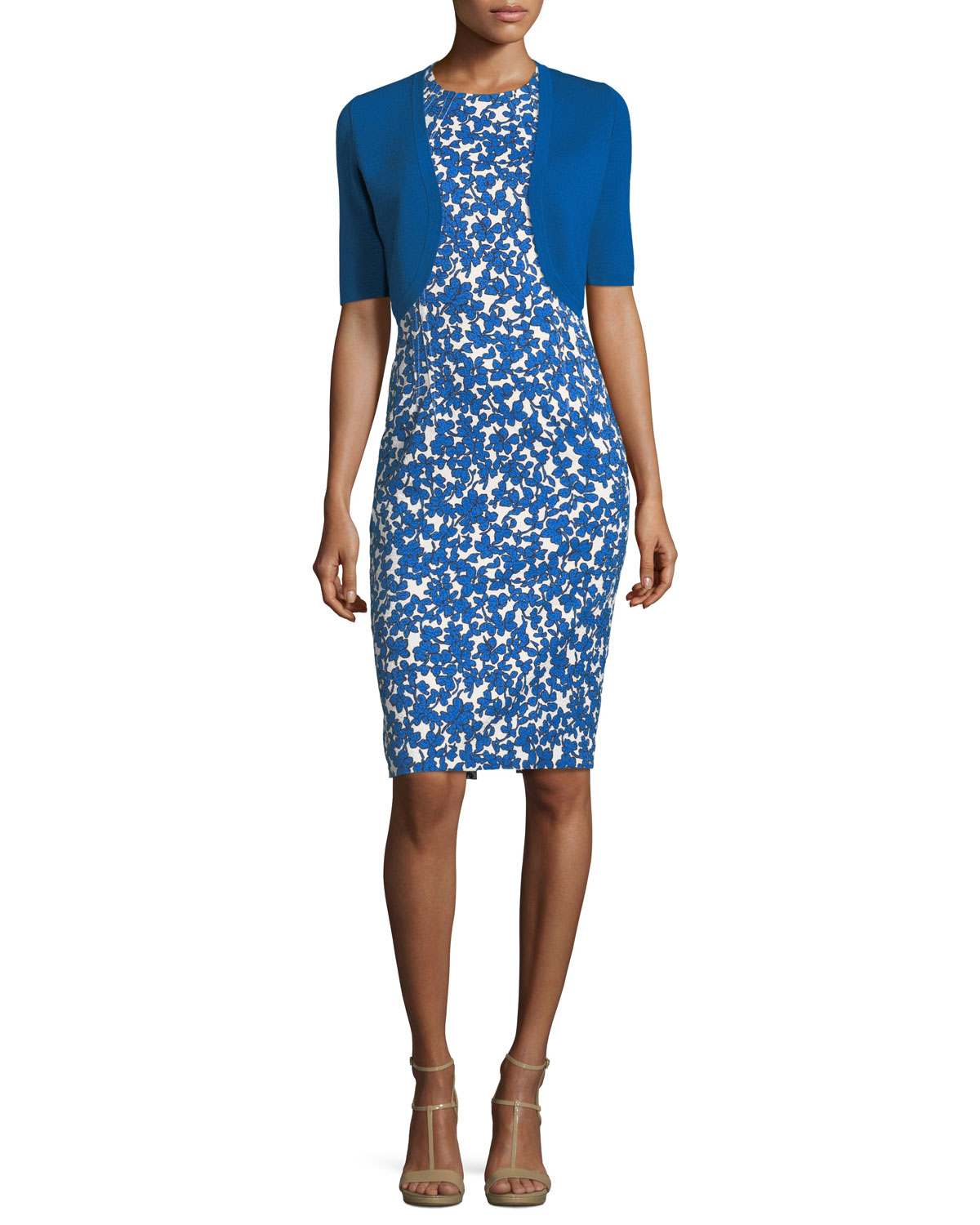 Field Floral-Print Stretch-Matelassé Sheath Dress