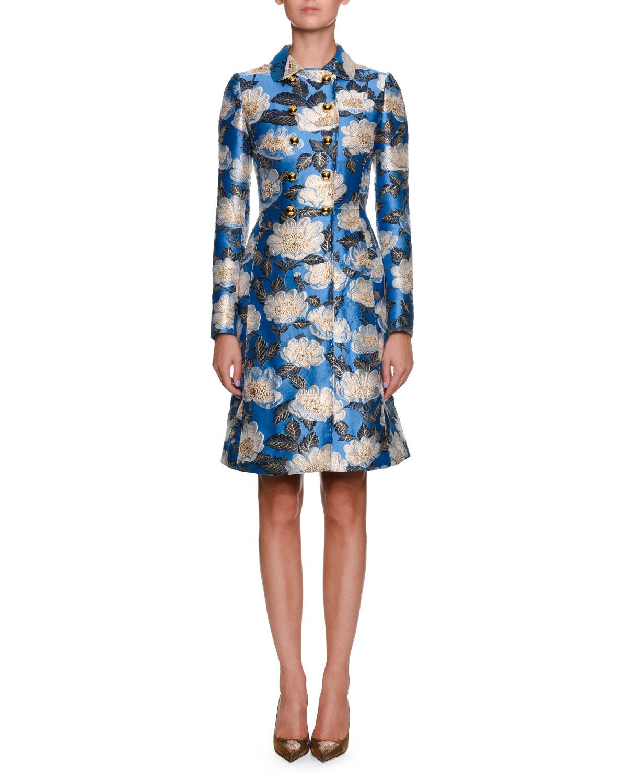 Sleeveless Printed Jacquard A-Line Dress