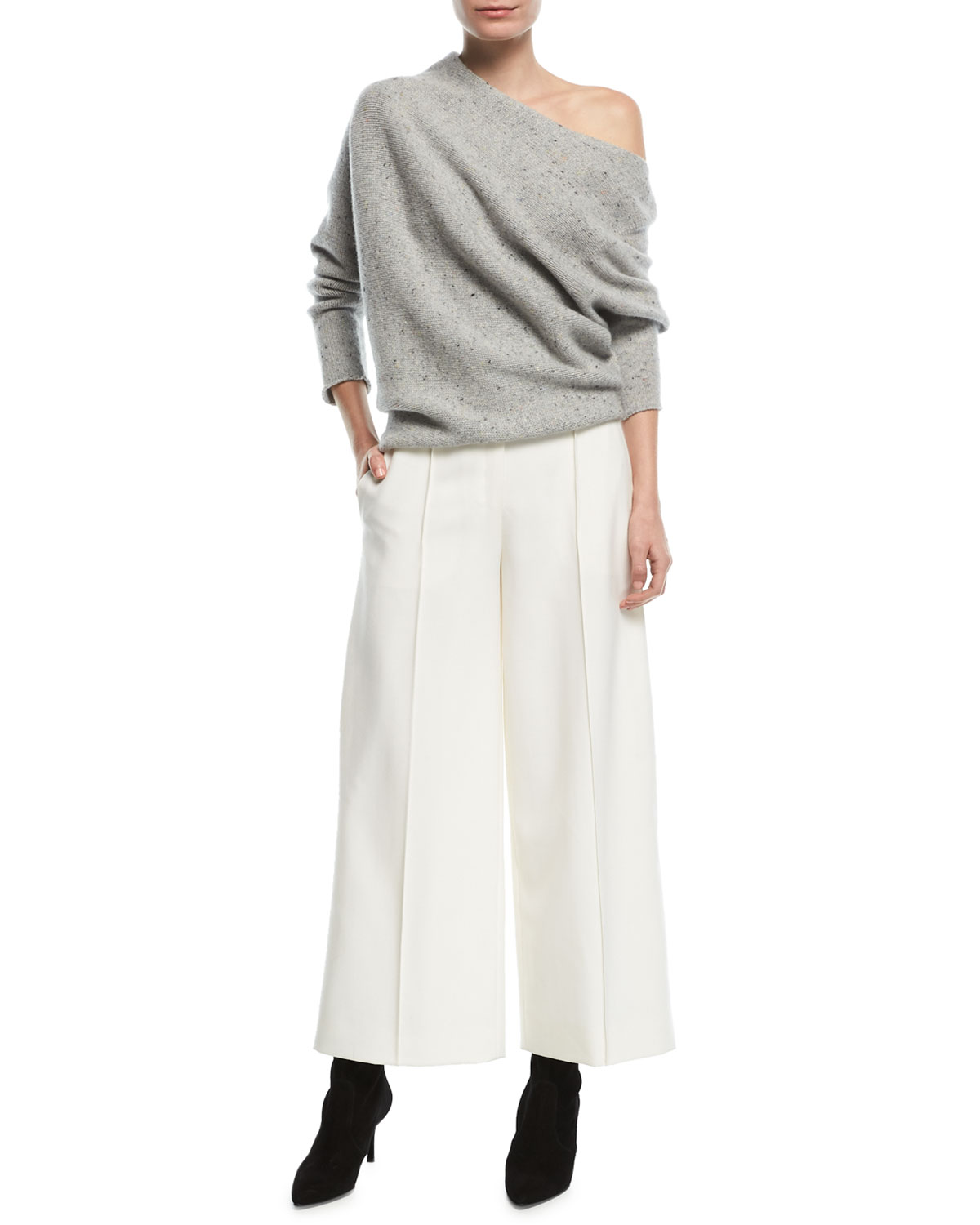 Seamed Wide-Legs Cropped Pants
