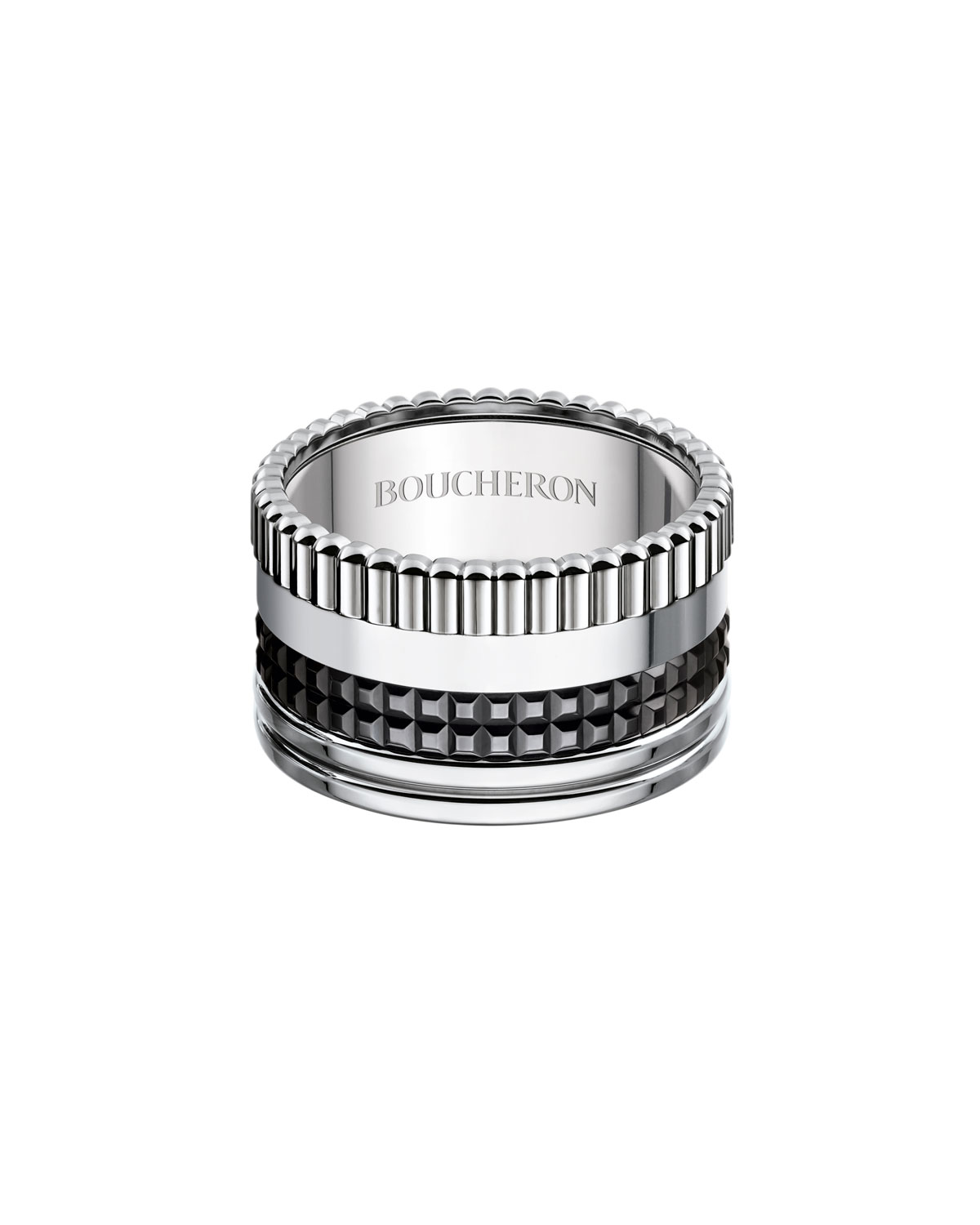 Quatre Black Edition Large Band Ring, Size 55