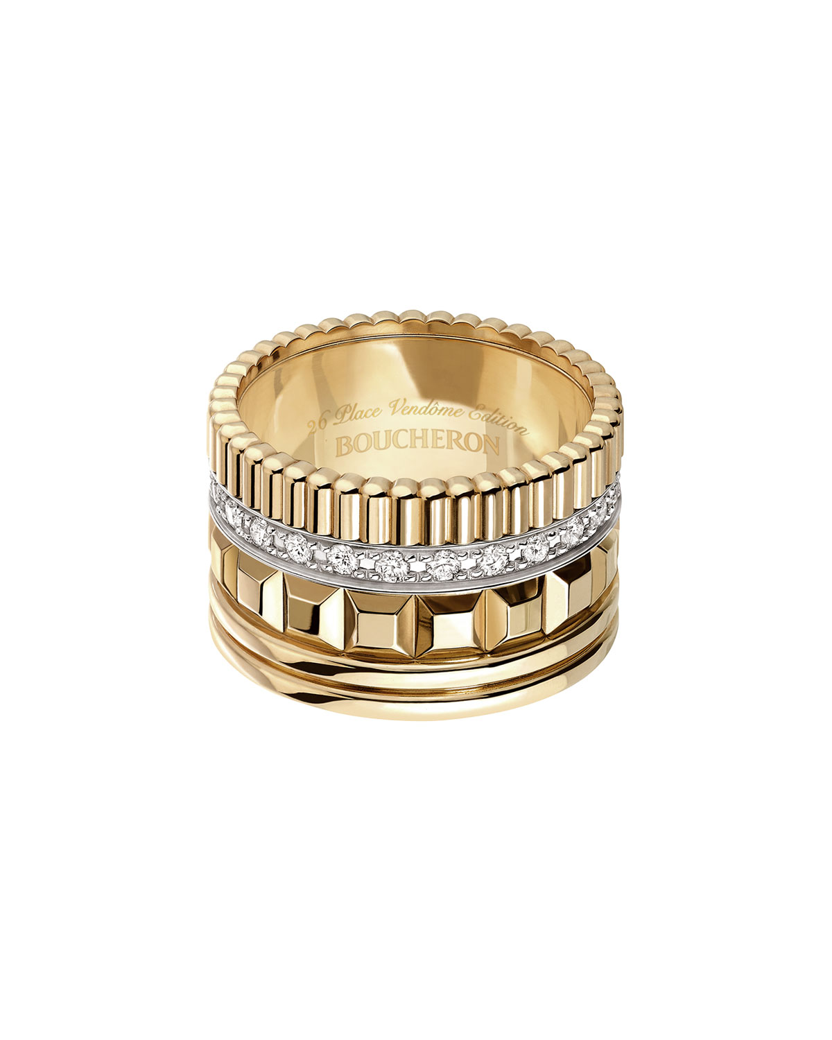 Quatre 18K Yellow Gold Ring with Diamonds, Size 56
