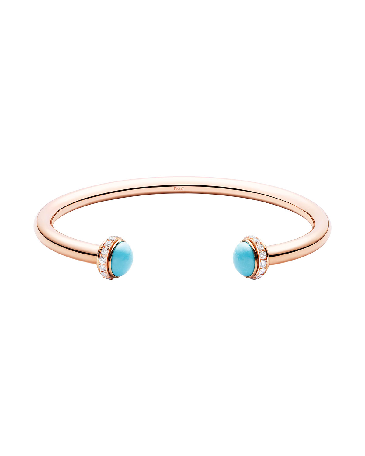 Possession 18K Red Gold & Turquoise Cabochon Bracelet with Diamonds, Size L