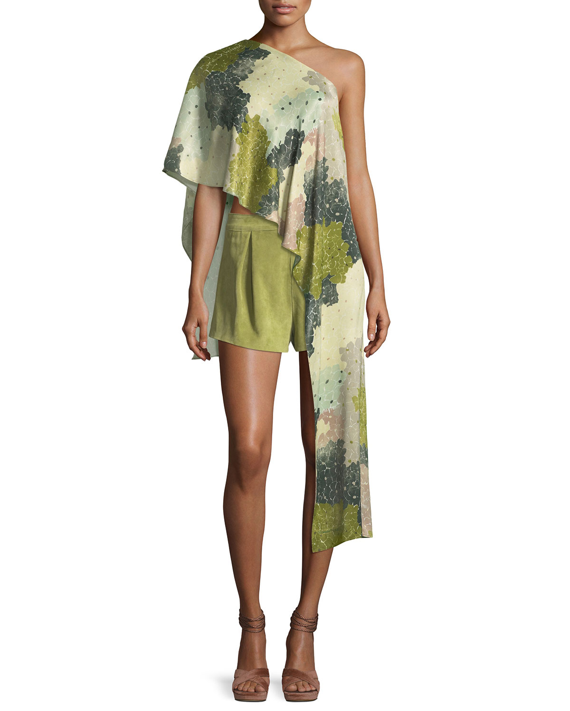 Floral-Print One-Shoulder Asymmetric Top