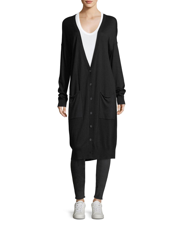Silk-Wool Long V-Neck Cardigan