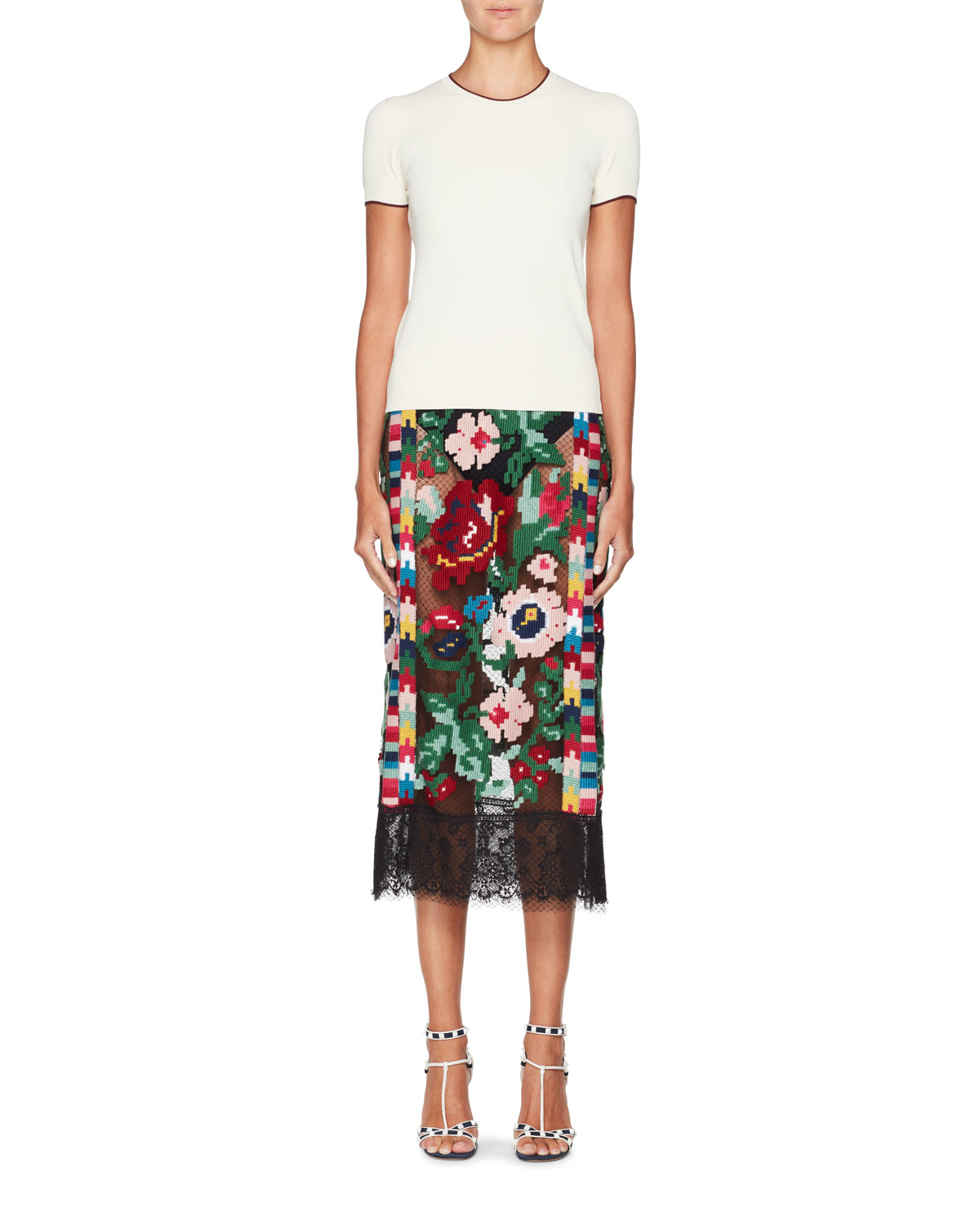 Semisheer Carpet-Embroidered Pencil Skirt with Lace Hem