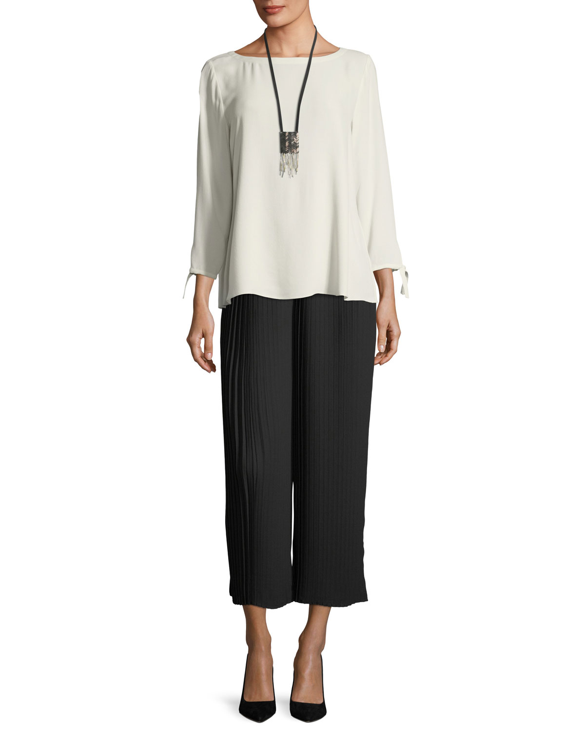 Knife-Pleated Wide-Leg Ankle Pants, Plus Size