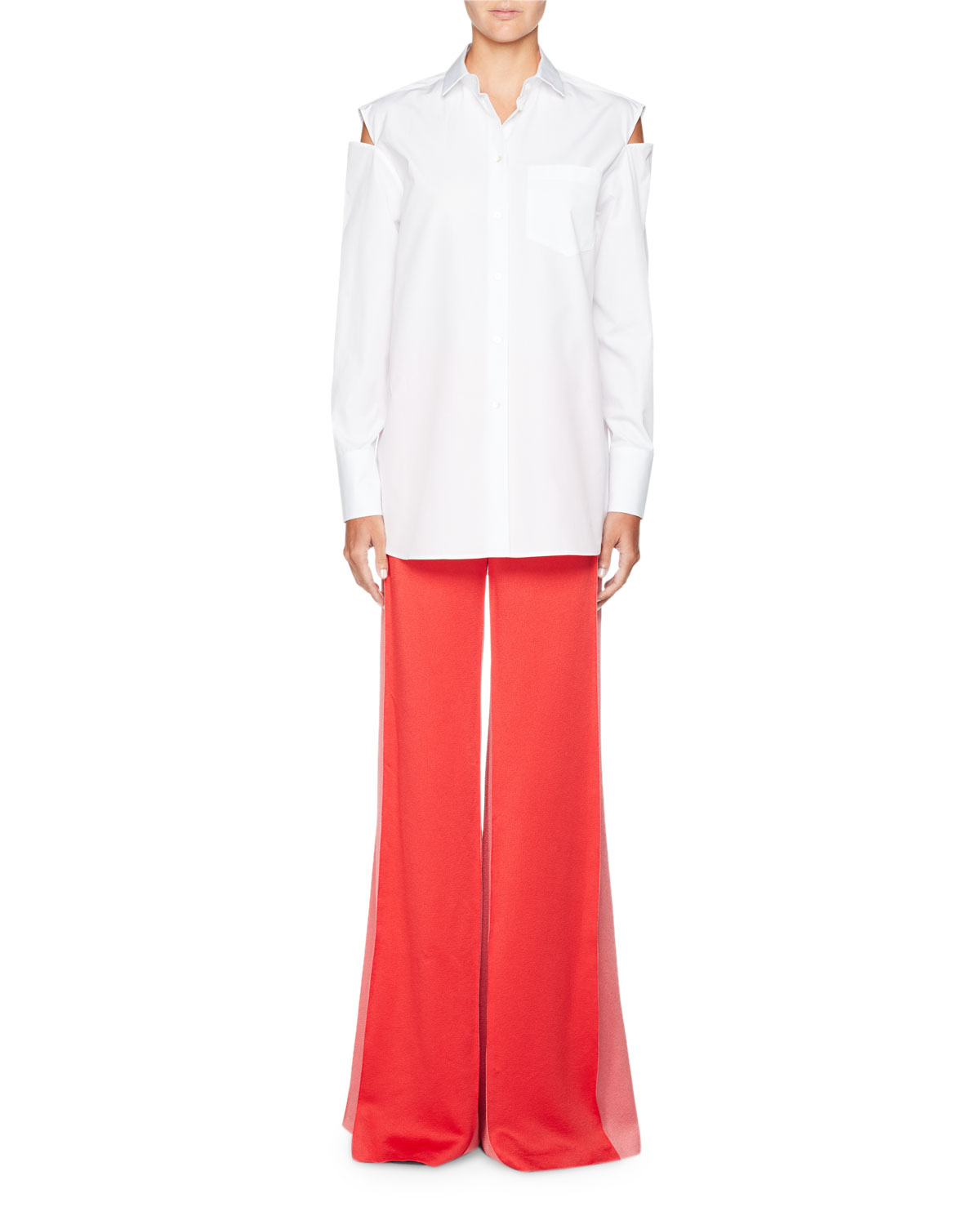 Wide-Leg Hammered Satin Pants