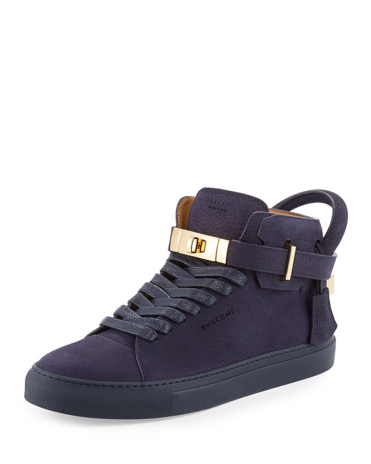 100mm Men's Nubuck Leather High-Top Sneaker, Blue Ink