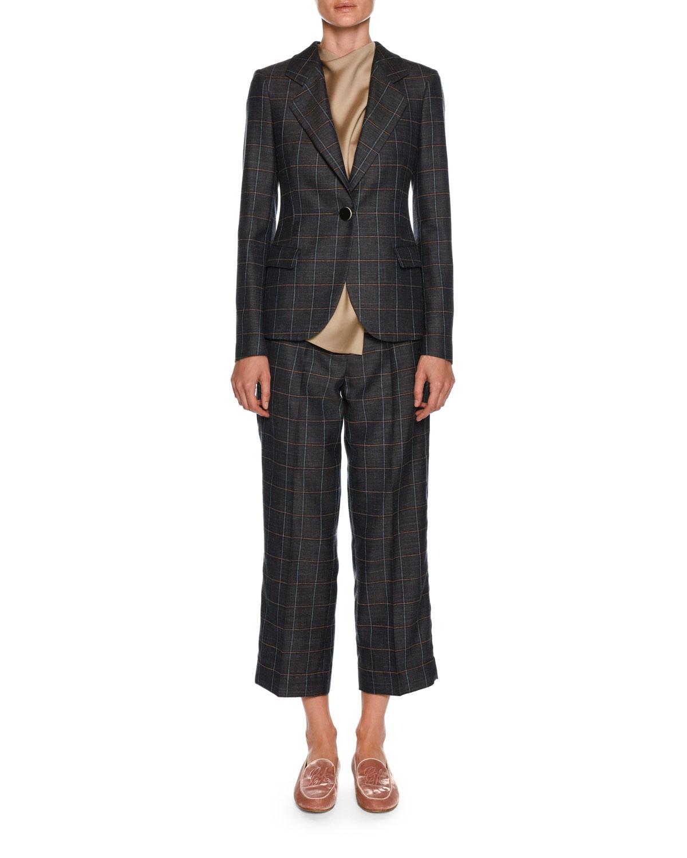 Windowpane-Check Wide-Leg Belted Crop Pants