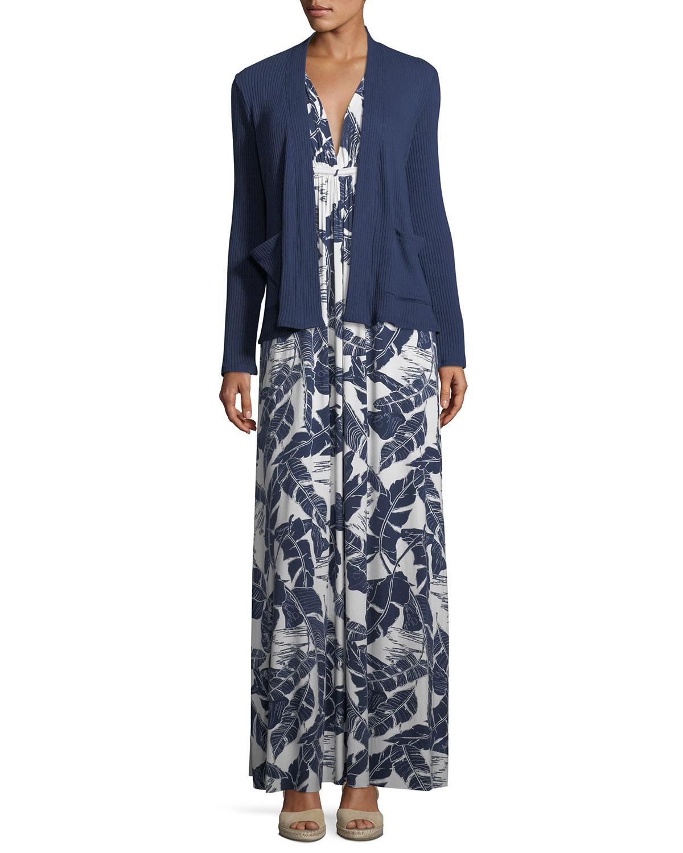Long Sleeveless Palm-Leaf-Print Dress, Plus Size