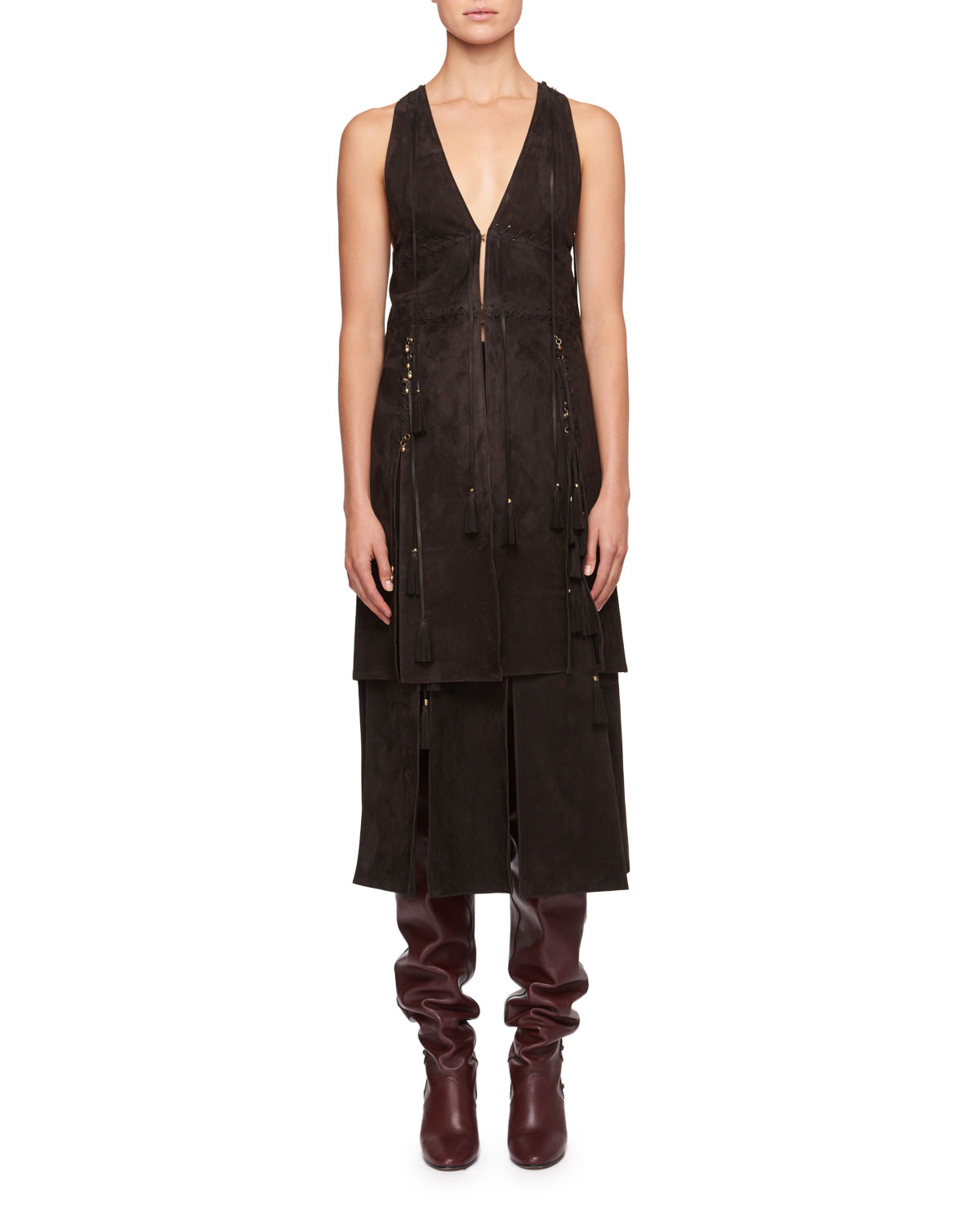 Sleeveless Suede Waistcoat with Lacing Charms