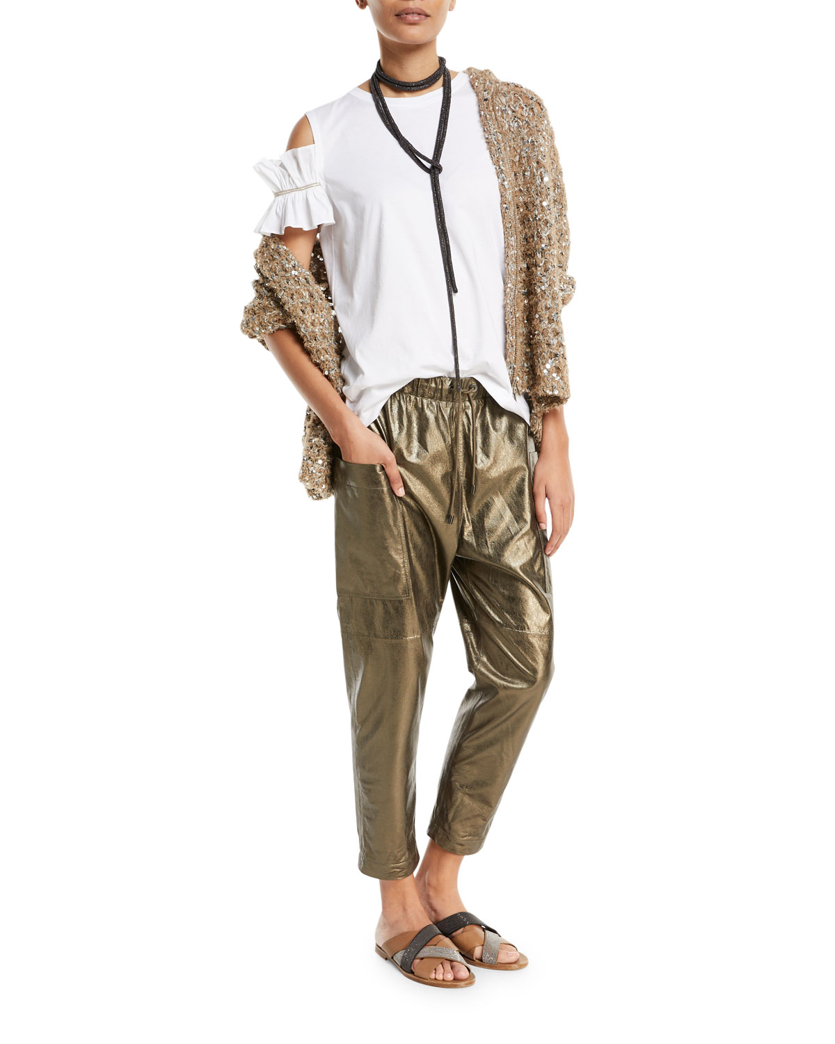 Metallic Leather Ankle Jogger Pants