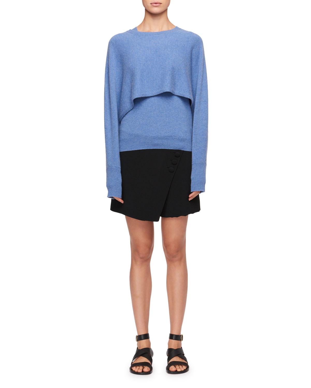 Diagonal-Front Crepe Mini Short-Skirt