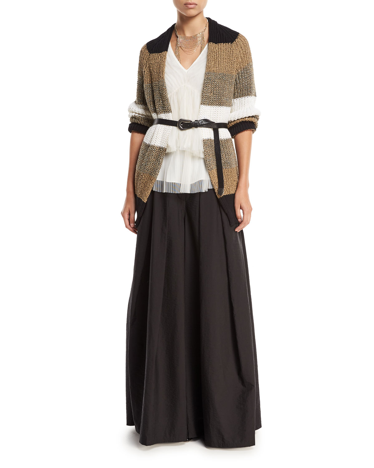 Open-Front Belted Coated Linen-Silk Cardigan with Metallic