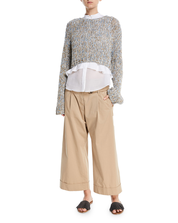 Mid-Rise D-Ring Belt Wide-Leg Cotton Ankle Pants