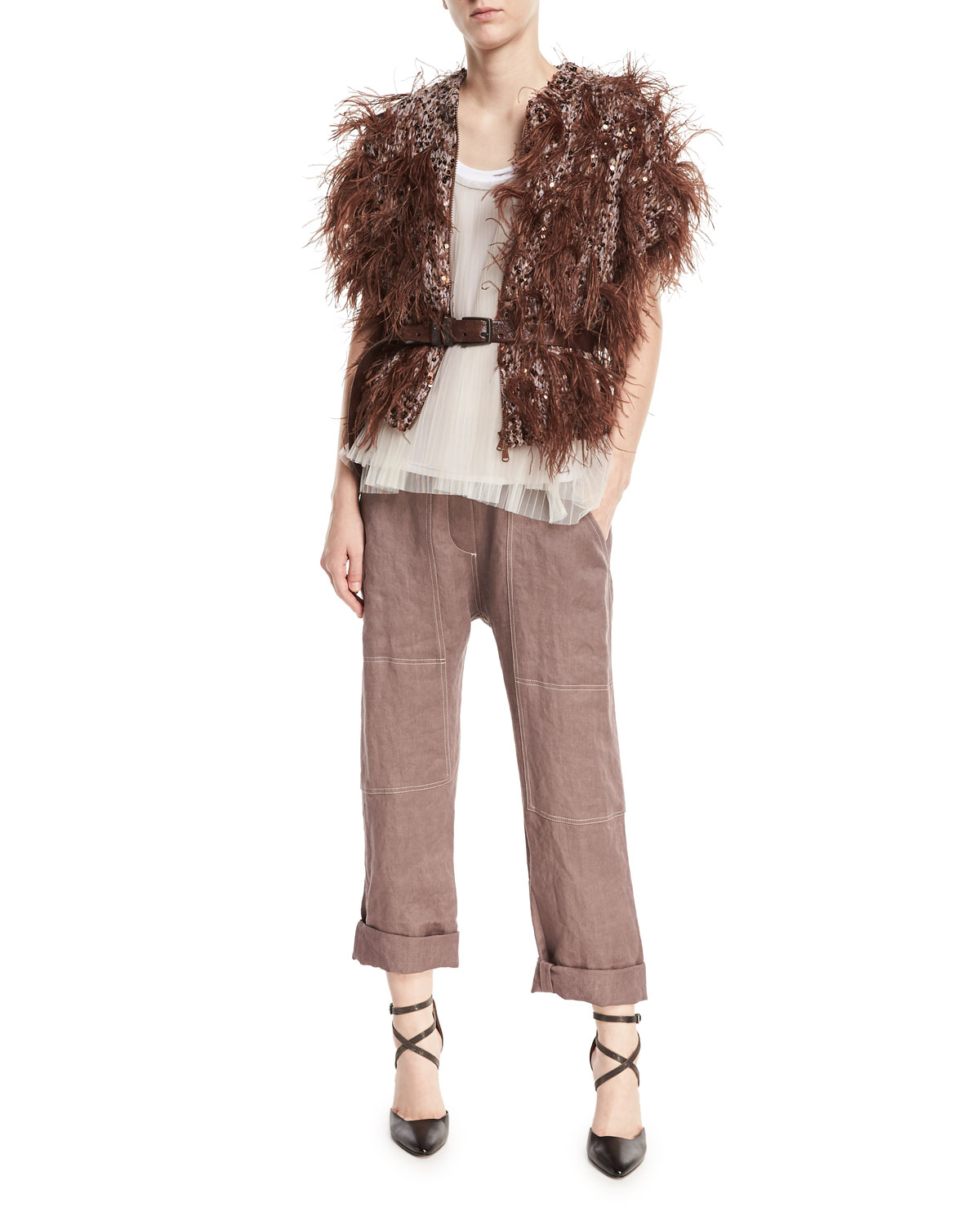 Cap-Sleeve Zip-Front Cashmere Cardigan with Feathers & Sequins